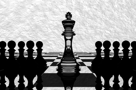 outwit: 3D Rendering : illustration of chess pieces.the glass king chess at the center with pawn chess in the back.chess board with white texture background.leader success concept,business leader concept Stock Photo