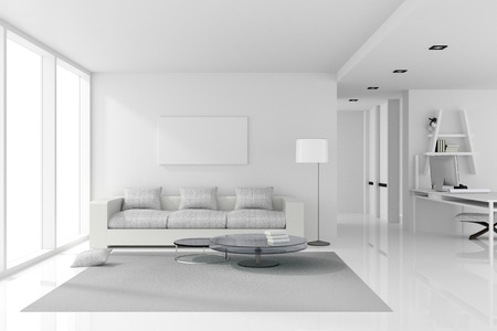 penthouse: 3D rendering : illustration of White interior design of living room with white modern style furniture.shiny white floor.empty picture frame hanging on a wall.work place.clipping path included