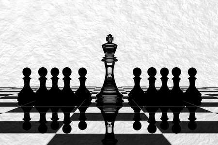business leader: 3D Rendering : illustration of chess pieces.the glass king chess at the center with pawn chess in the back.chess board with white texture background.leader success concept,business leader concept Stock Photo