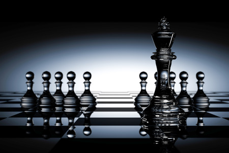outwit: 3D Rendering : illustration of chess pieces.the glass king chess at the center with pawn chess in the back.chess board with light drop background.leader success concept,business leader concept Stock Photo