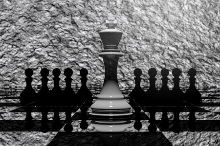 outwit: 3D Rendering : illustration of chess pieces.the ceramic king chess at the center with pawn chess in the back.chess board with texture background.leader success concept,business leader concept Stock Photo