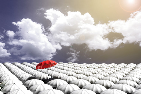 mainstream: 3D Rendering : illustration of Red umbrella floating above from the crowd of many white umbrellas against blue sky and clouds.Business leader concept, being different concepts