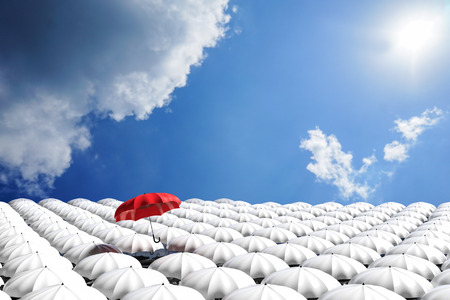 best shelter: 3D Rendering : illustration of Red umbrella floating above from the crowd of many white umbrellas against blue sky and clouds.Business leader concept, being different concepts