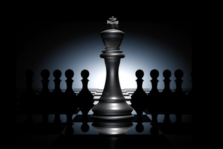 business leader: 3D Rendering : illustration of chess pieces.the glass king chess at the center with pawn chess in the back.chess board with light drop background.leader success concept,business leader concept Stock Photo