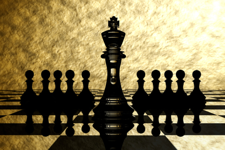 outwit: 3D Rendering : illustration of chess pieces.the glass king chess at the center with pawn chess in the back.chess board with gold texture background.leader success concept,business leader concept Stock Photo