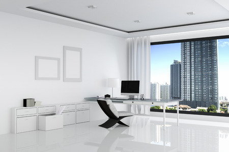 office computer: 3D Rendering : illustration of white office of Creative designer desktop with blank computer,keyboard,camera,lamp and other items on background with window and city view. Mock up