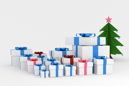 box size: 3d Rendering : illustration of realistic many size white square gift box with ribbon bow in empty room.isolate on white background.copy space for add your text.one box opened