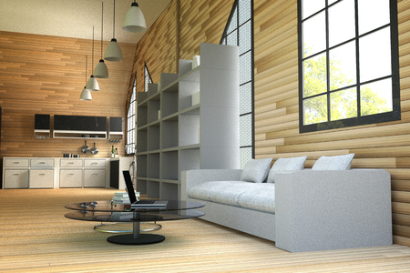 furniture part: 3D rendering : illustration of wooden house interior.living room part of house.white furniture in wooden room style.loft modern.wood tile wall and floor.laptop on glass table