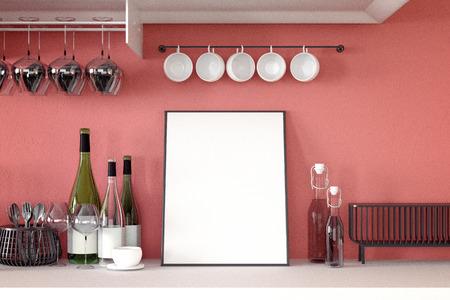 3d rendering : illustration of white mock up frame. hipster background. mock up white poster or picture frame.kitchen room interior. Stock Photo