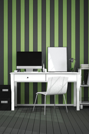 hall monitors: 3D Rendering : illustration of modern interior Creative designer office desktop with PC computer.working place of graphic design.close-up.Mock up.light from outside. frame mock up.clipping path included