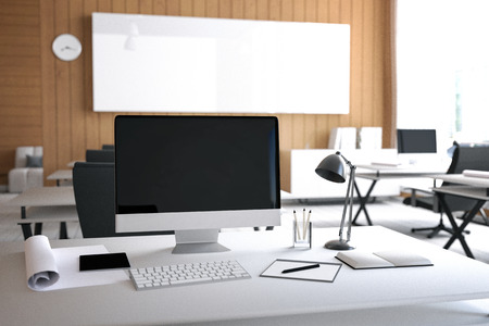 hall monitors: 3D Rendering : illustration of modern interior Creative designer office desktop with PC computer.computer labs.working place of graphic design.close-up.Mock up.shiny floor.light from outside Stock Photo