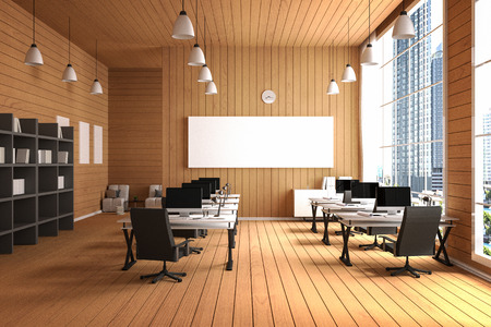 hall monitors: 3D Rendering : illustration of modern interior Creative designer office desktop with PC computer.computer labs.working place of graphic design.close-up.Mock up.wood floor.light from outside Stock Photo