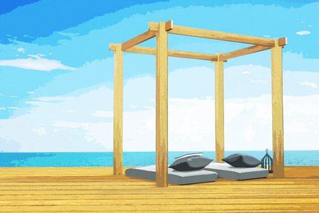 3D rendering : illustration of wooden beach lounge decoration at balcony outdoor wooden room style with Sundeck on Sea view for vacation and summer comic halftone picture style