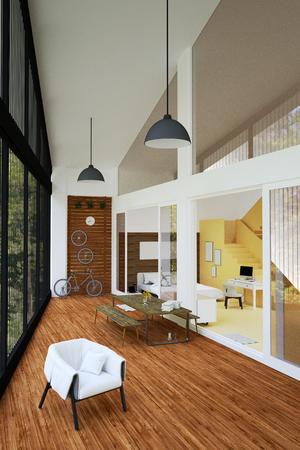 #72953433   3 D レンダリング: 大きな窓で光の広々 としたモダンなミニマリズムの屋外リビング  ルームの椅子ソファーのイラスト。wild.resort または家の内部の家の ...