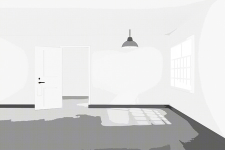 penthouse: 3D rendering : illustration of White interior empty living room design with two vintage lamp hanging.sun light shining from outside of the room.design your home concept.comic halftone picture style process Stock Photo