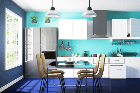 penthouse: 3D rendering : illustration of White interior modern kitchen room design with two vintage lamp hanging.sun light shining from outside of the room.design your home, comic halftone picture style