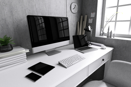 3D Rendering Illustration Of Interior Creative Designer Office Desk With PC Computer Laptops Mock
