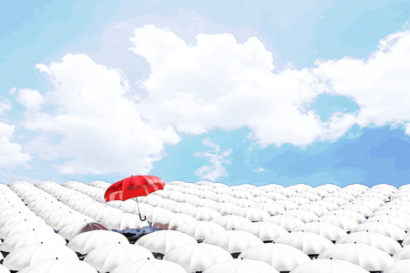 3D Rendering : illustration of Red umbrella floating above from the crowd of many white umbrellas against blue sky and clouds.Business leader being different concepts. filtered image to comic halftone