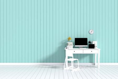 3D Rendering : Illustration Of Interior Creative Designer Office Desk With  PC Computer. Laptops Mock