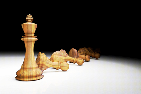 3D Rendering : illustration of chess pieces.the glass king chess at the center with pawn chess in the back.chess with light drop.leader success business leader concept. filtered image to comic halftone Stock Photo