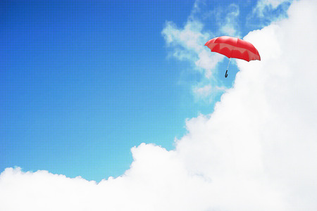 3D Rendering : illustration of Red umbrella floating above against blue sky and clouds. Business, leader concept, being different concepts;1st position. filtered image to comic halftone