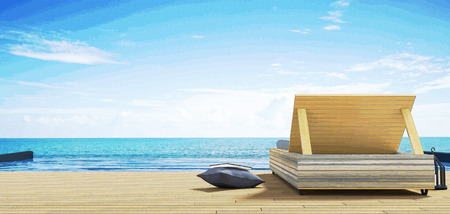 lounge chair: 3D Rendering : illustration of Beach lounge - Sundeck and Sea view for vacation and summer on brown wooden floor.minimalism style.time to rest concept. filtered image to comic halftone Stock Photo