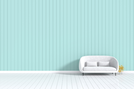 living room wall: 3d rendering : room Minimalist interior light and shadow with white fabric sofa at front of wooden green pastel wall and white floor. minimalism style wall background