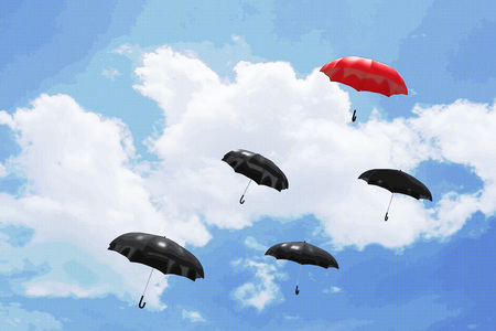mainstream: 3D Rendering : illustration of Red umbrella floating above on many black umbrellas against blue sky and clouds. Business, leader concept, being different concepts;1st position. filtered image to comic halftone