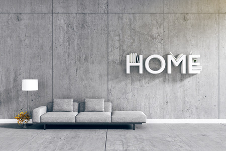 living room wall: 3d rendering : room Minimalist interior light and shadow with Gray fabric long sofa at front of cement concrete wall and floor. minimalism loft style wall background. design your HOME concept