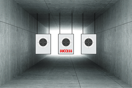 targets: 3d rendering : illustration of Abstract square cement concrete tunnel interior with shooting target hanging from roof. light at the end of tunnel. go to success on target concept. tunnel background Stock Photo