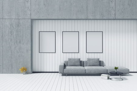 kitchen furniture: 3d rendering : room Minimalist interior grey fabric long sofa at front of cement concrete wall and white woodenwall and  floor. minimalism loft style wall background. design your HOME concept