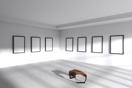 3D rendering  : illustration of Abstract architecture white room interior, empty white room corner with wall and wooden tile floor. sunlight from window. empty gallery room. minimalism interior style Stock Photo