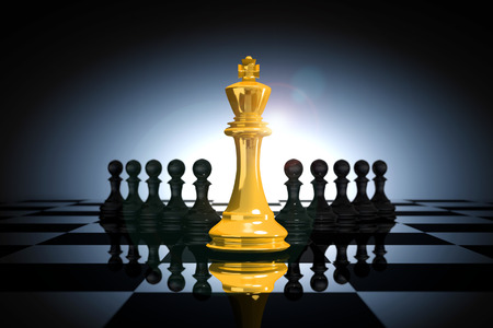 3D Rendering : illustration of golden glass king chess pieces. the king chess at the center with pawn chess in the back.