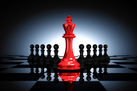 3D Rendering : illustration of red glass king chess pieces. the king chess at the center with pawn chess in the back. chess board with light drop background. leader success business concept.