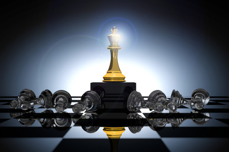 3D Rendering : illustration of king chess pieces. THE king chess at the center with overthrow pawn chess in the back. chess board with light drop background. leader winner success business concept.