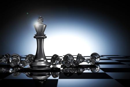 Rendu 3D: illustration des pièces d'échecs du roi. Le roi d'échecs à l'avant avec le renversement des échecs de pion dans le dos. échiquier avec fond de goutte de lumière. leader succès concept d'affaires de succès. Banque d'images