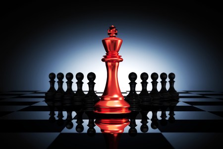 3D Rendering : illustration of red metal king chess pieces. the king chess at the center with pawn chess in the back. chess board with light drop background. leader success business concept.