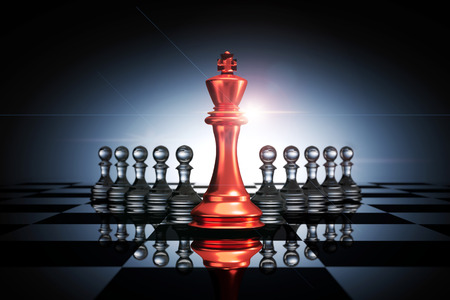 3D Rendering : illustration of red metal king chess pieces. the king chess at the center with pawn chess in the back.
