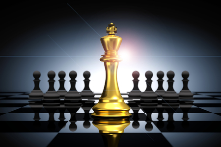 3D Rendering : illustration of golden king chess pieces. the king chess at the center with pawn chess in the back. chess board with light drop background. leader success business concept.