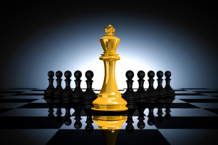 3D Rendering : illustration of golden glass king chess pieces. the king chess at the center with pawn chess in the back. chess board with light drop background. leader success business concept.