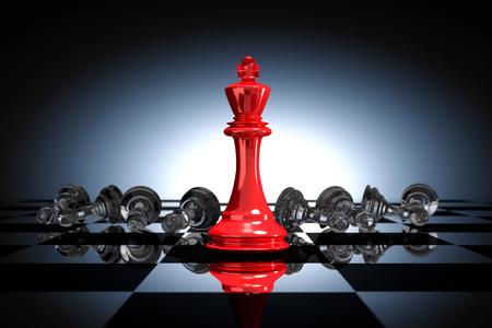 Rendu 3D: illustration des pièces d'échecs du roi. L'échec du roi au centre avec un échec d'échecs dans le dos. Tableau d'échecs avec un fond léger. Concept d'entreprise de succès leader.