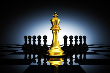 trap: 3D Rendering : illustration of golden king chess pieces. the king chess at the center with pawn chess in the back. chess board with light drop background. leader success business concept.