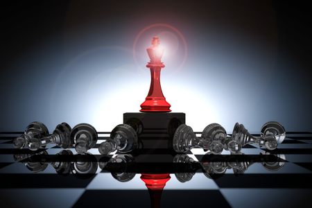 Rendu 3D: illustration des pièces d'échecs du roi. L'échec du roi au centre avec un échec d'échecs dans le dos. Tableau d'échecs avec un fond léger. Concept d'entreprise de succès gagnant leader.