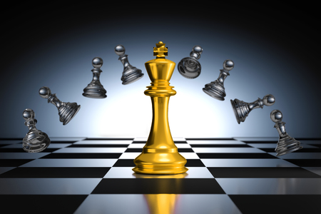 trapped: 3D Rendering : illustration of king chess pieces. THE king chess at the center with overthrow pawn chess in the back. chess board with light drop background. leader success business concept.