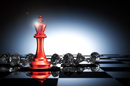 3D Rendering : illustration of king chess pieces. THE king chess at the front with overthrow pawn chess in the back. chess board with light drop background.