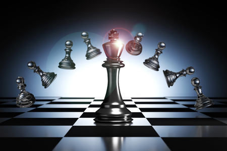 3D Rendering : illustration of king chess pieces. THE king chess at the center with overthrow pawn chess in the back. chess board with light drop background. leader success business concept.