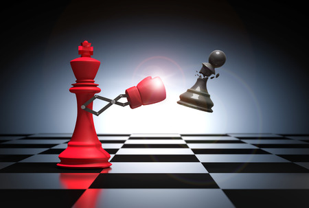 3D rendering : illustration of king chess knocking out a pawn chess.