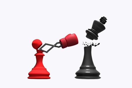 3D-rendering: illustratie van pionschaak die een koningsschaak elimineert. Pion ponsen en de koning vernietigen met bokshandschoen op schaakbord. klop met geheim wapen bedrijfsconcept. uitknippad