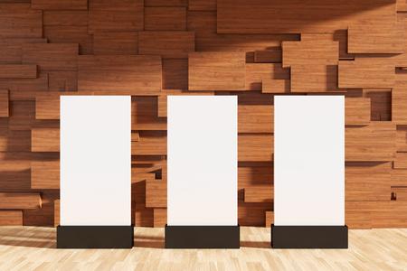 3D rendering : illustration of light box or street billboard against wooden blocks wall. modern interior design. wooden blocks wall and vertical garden. design of modern exhibition. Stock Photo
