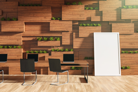 furniture design: 3D rendering : illustration of new modern style conference room interior design with blank whiteboard in wooden blocks wall room. frame mock up puting in meeting room. clipping path included Stock Photo